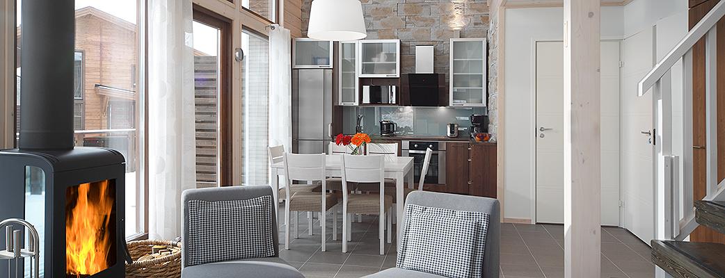В функциональных апартаментах Aurinkopaikka могут разместиться до шести человек.