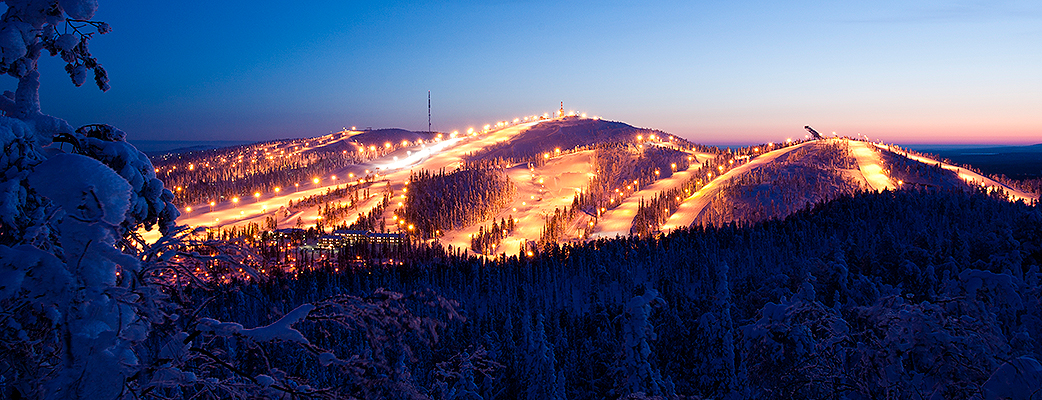 The awe-inspiring Ruka ski slopes are only a 15-minute drive from Kuusamon Tropiikki.