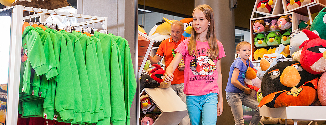 Find your souvenirs and presents at the Angry Birds Activity Park's own Angry Birds Shop.
