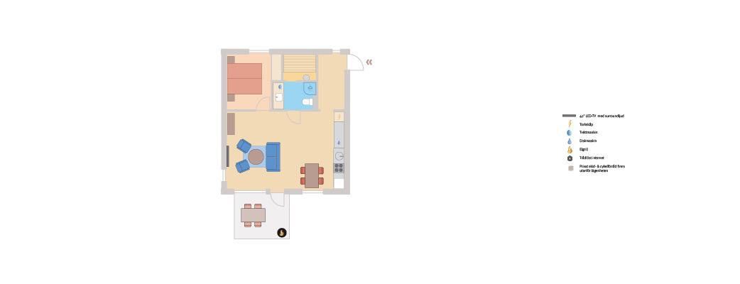 Lägenhet med 1 sovrum